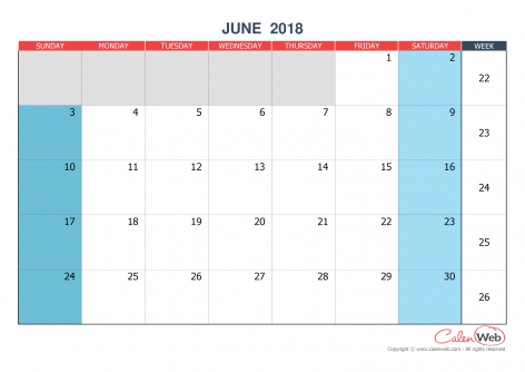 Monthly calendar – Month of June 2018 The week starts on Sunday