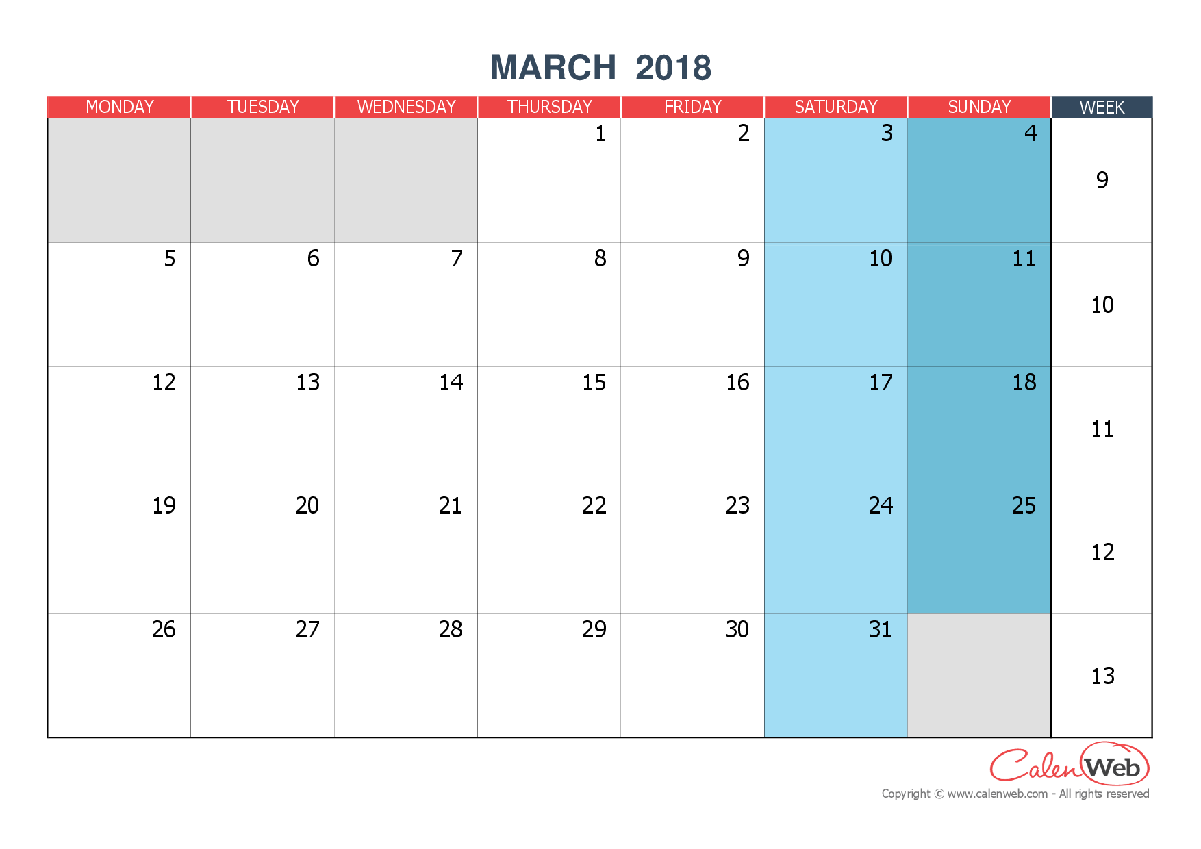 Monthly calendar - Month of March 2018 The week starts on ...