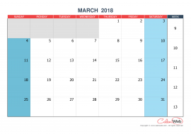 Monthly calendar – Month of March 2018
