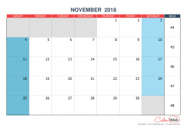 Monthly calendar – Month of November 2018