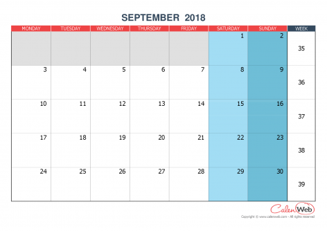 Monthly calendar – Month of September 2018 The week starts on Monday