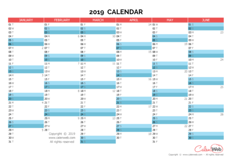 Semiannual calendar – Year 2019 Semiannual horizontal planning