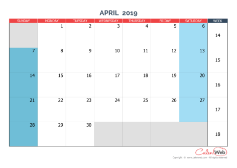 Monthly calendar – Month of April 2019 The week starts on Sunday