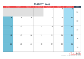 Monthly calendar – Month of August 2019