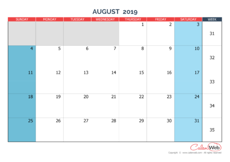 Monthly calendar – Month of August 2019 The week starts on Sunday