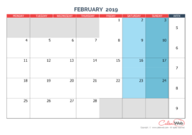 Monthly calendar – Month of February 2019