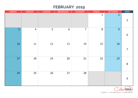 Monthly calendar – Month of February 2019 The week starts on Sunday