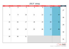 Monthly calendar – Month of July 2019