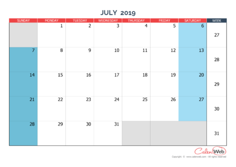 Monthly calendar – Month of July 2019 The week starts on Sunday