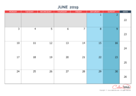 Monthly calendar – Month of June 2019