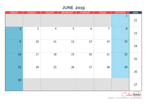 Monthly calendar – Month of June 2019 The week starts on Sunday