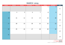 Monthly calendar – Month of March 2019