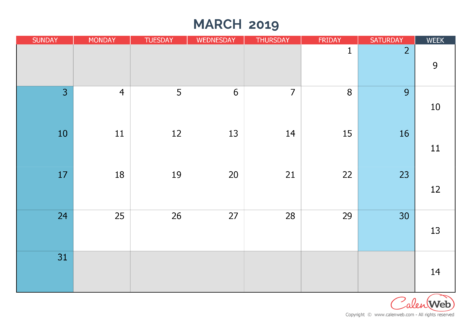 Monthly calendar – Month of March 2019 The week starts on Sunday