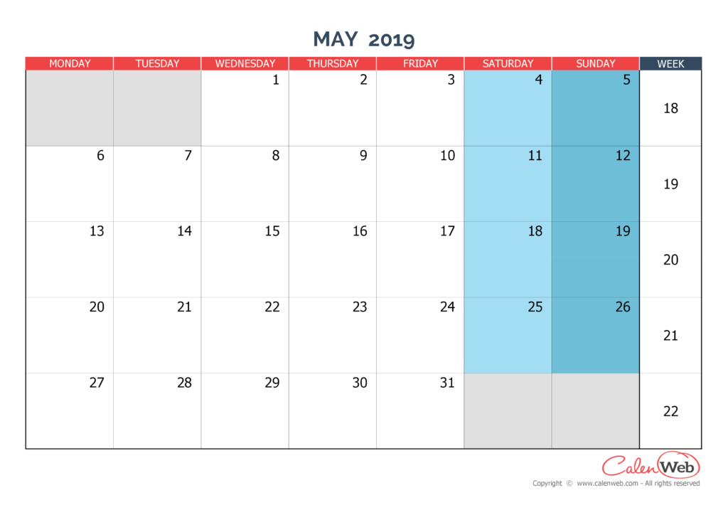monthly calendar - month of may 2019 the week starts on monday