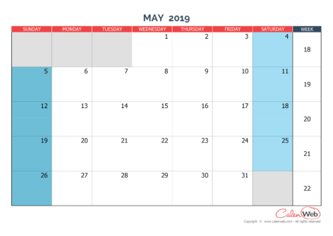 Monthly calendar – Month of May 2019 The week starts on Sunday