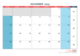 Monthly calendar – Month of November 2019