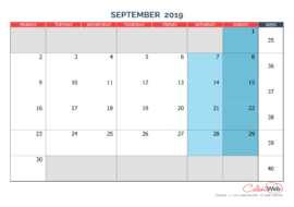 Monthly calendar – Month of September 2019