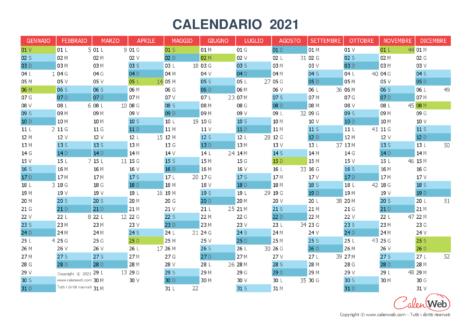Calendario annuale – Anno 2021 con le festività italiane