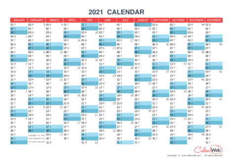 Yearly calendar – Year 2021 Yearly horizontal planning