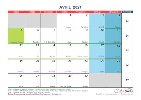 Calendrier mensuel – Mois d'avril 2021 Avec fêtes, jours fériés et vacances scolaires