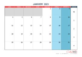 Calendrier mensuel – Mois de janvier 2021