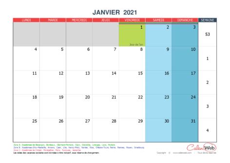 Calendrier mensuel 2021 personnalisable avec jours fériés et vacances scolaires