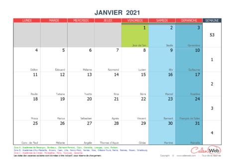 Calendrier mensuel – Mois de janvier 2021 Avec fêtes, jours fériés et vacances scolaires