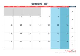 Calendrier mensuel – Mois d'octobre 2021