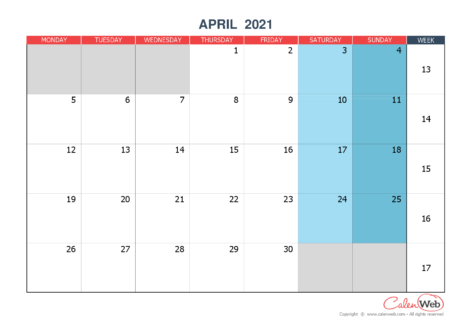 Monthly calendar – Month of April 2021 The week starts on Monday