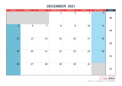 Monthly calendar – Month of December 2021 The week starts on Sunday