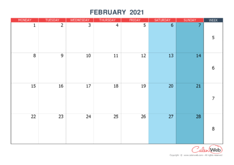 Monthly calendar – Month of February 2021 The week starts on Monday