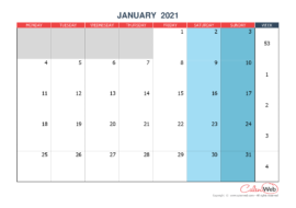 Monthly calendar – Month of January 2021