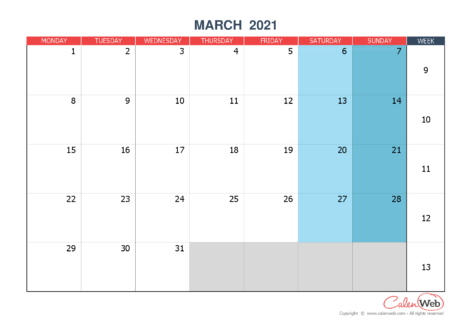 Monthly calendar – Month of March 2021 The week starts on Monday