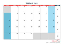Monthly calendar – Month of March 2021