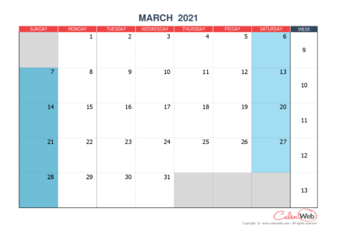 Monthly calendar – Month of March 2021 The week starts on Sunday