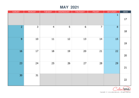 Monthly calendar – Month of May 2021 The week starts on Sunday