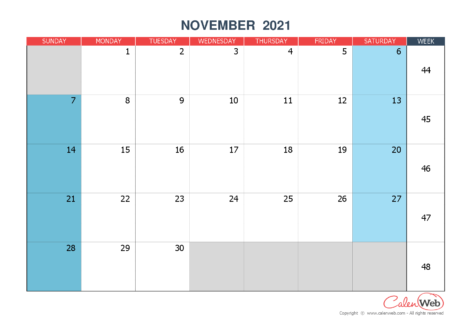 Monthly calendar – Month of November 2021 The week starts on Sunday