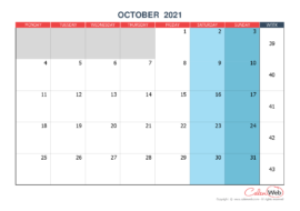 Monthly calendar – Month of October 2021