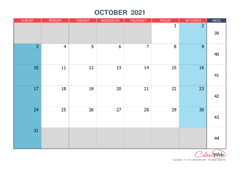 Monthly calendar – Month of October 2021 The week starts on Sunday
