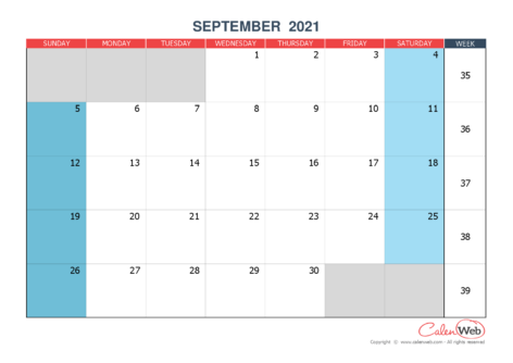 Monthly calendar – Month of September 2021 The week starts on Sunday